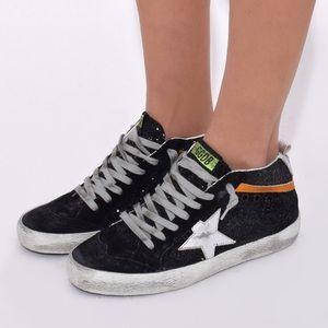 Golden Goose Black Glitter Mid Star Sneakers 37 7
